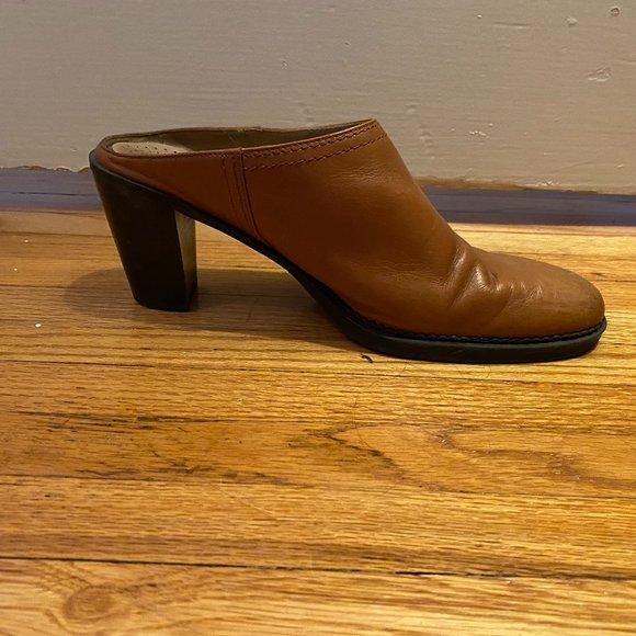 Brown Leather Mule Slides Vintage 90s Sz 8